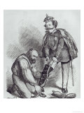 Right Leg in the Boot at Last  Caricature of Giuseppe Garibaldi and the King of Italy