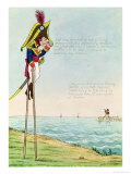 Caricature of Napoleon Standing on Stilts Observing Pitt and England Across the Channel
