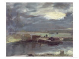 Barges on the Stour with Dedham Church in the Distance  1811