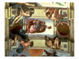 Sistine Chapel Ceiling: God Separating the Land from the Sea  with Four Ignudi  1510
