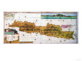 Insulae Lavae  a Large Folding Map of Java with Two Insets Both Depicting Views of Batavia Dutch