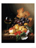 A Basket of Grapes  Raspberries  a Peach and a Wine Glass on a Table