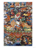 A Tibetan Thangka Depicting Shri Devi Seated Astride Her Mule  circa 1900