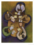 An Overhead Look at a Meeting Between Three Business People