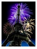 Fireworks Behind Eiffel Tower  Bastille Day