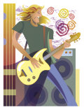 An Abstract of a Caucasian  Long-Haired Male Playing the Guitar in Front of Speakers