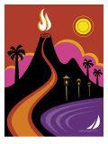 Volcano  Ocean and Lights in Hawaii