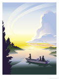 Silhouette of a Family Fishing from a Boat  Grouped Elements