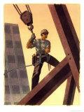 A Steel Worker Standing on Beams