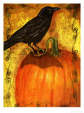 Crow Standing on Pumpkin