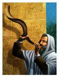 Man Blowing Shofar for Rosh Hashanah