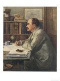 Rudyard Kipling English Writer Working at His Desk