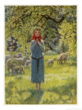 "Jeanne D'Arc Hearing Her ""Voices"" While Minding Her Sheep at Domremy"