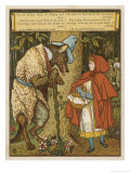 Little Red Riding Hood Meets the Wolf in the Woods