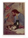 Robinson Crusoe with His Parrots and Cats Giclée premium par Elenore Plaisted Abbott