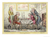 Game of Chess  Two Wigged Gentlemen Play Two Friends Watch Them with Mixed Emotions