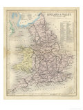 Map of England and Wales Showing Railways and Canals Giclée premium par James Archer