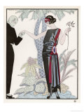 Sleeveless Slash Neck Chinese or Orientally Inspired Black Dress by Worth with Red Tassel Detail Giclée premium par Georges Barbier