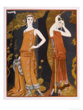 Orientally Inspired Gowns by Worth in Lacquer Reds Giclée premium par Georges Barbier
