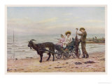 The Artist's Children in a Goat Carriage Ay Broadstairs Kent England Giclée par Helen Allingham