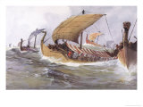 Viking Raiding Fleet Racing Across the North Sea