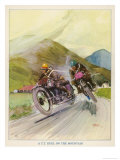 Two Competitors in the Tourist Trophy Race Fight It out Amid the Hills of the Isle of Man Giclée premium par Grimes