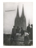 Excited Spectators Watching a Zeppelin Z111 Fly Over Cologne Cathedral Germany