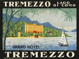 The Label for the Grand Hotel at Tremezzo on Lake Como Giclée premium