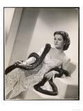 """American Film Star Joan Bennett Models a Dress She Wears in Her Latest Picture """"Girl Trouble"""""""