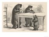 Boucle d'Or et les trois ours Giclée premium