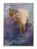 Peter Pan and Wendy Float Away Over the City Giclée premium par Alice B. Woodward