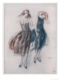 Two Happy Flappers Wear Soft Wide Brimmed Hats and Gathered Skirts That Catch the Breeze