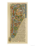 "Illuminated Letter ""P"" Showing King Solomon Writing His ""Proverbs""  from a German Bible"