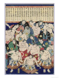 Group of Burly Sumo Wrestlers with Their Oiled Hair in Top Knots and the Yokozuna
