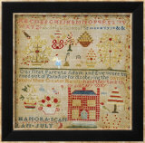 Silk on Linen Needlework Sampler  circa 1836