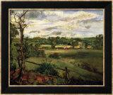 View of Highgate from Hampstead Heath, circa 1834 Reproduction encadrée par John Constable