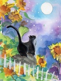 TUXEDO CAT MOONLIGHT SUNFLOWERS Reproduction d'art par Sylvia Pimental