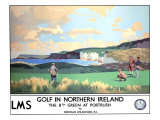 Golf in Northern Ireland  LMS Poster  circa 1925