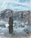Eagle over Mount Rushmore