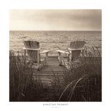 Chaises longues à la plage Reproduction d'art par Christine Triebert