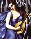 Femme à guitare Reproduction d'art par Tamara De Lempicka
