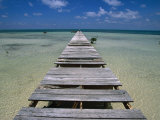 Wooden Pier with Broken Planks  Ambergris Caye  Belize