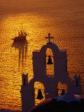 Sailing Ship and Church Bells at Sunset  Greece