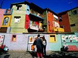 Street Market and Colourful Buildings  La Boca  Buenos Aires  Argentina