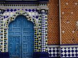 Tiled Facade of the Church of the Virgin of the Assumption in Libres  Puebla  Mexico