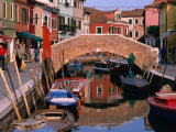 Canal Lined by Colourful Houses  Venice  Burano  Veneto  Italy