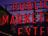 Pike Place Market Neon Sign  Seattle  Washington  USA