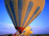 A Hot Air Ballon About to Fly Over the Cappadocia Landscape  Cappadocia  Nevsehir  Turkey