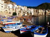 Fishing Boats on Beach at Seaside Resort  Cefalu  Italy
