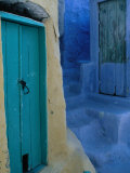 Painted Stepped Alley and Green Wooden Door Pothia  Kalymnos  Greece